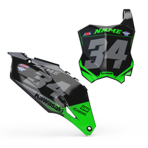Kawasaki Number plate set -  Smoke