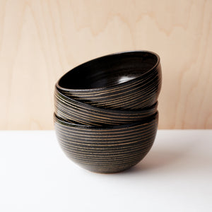 Striped Everyday Bowls (Black)