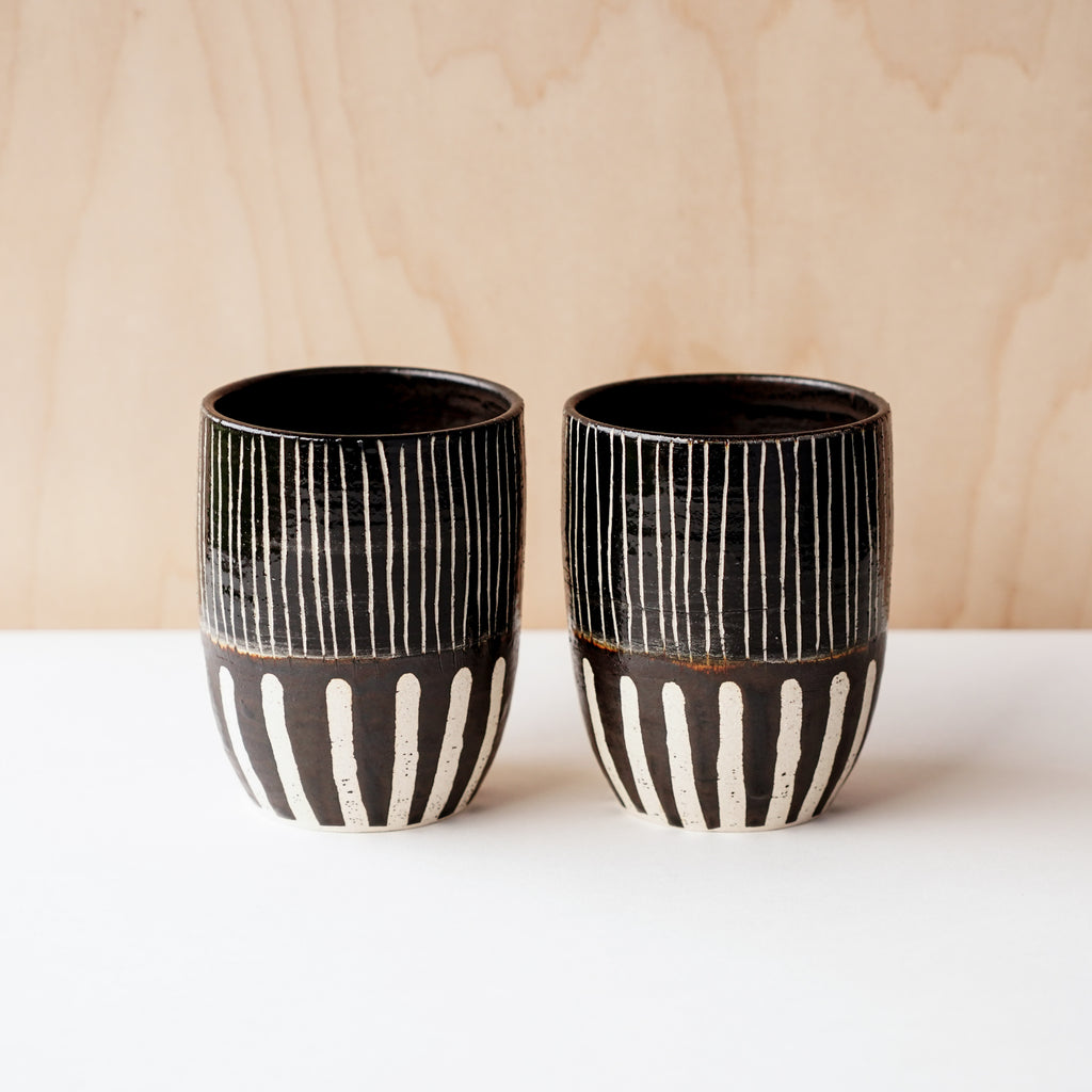 Double Striped Whiskey Cups