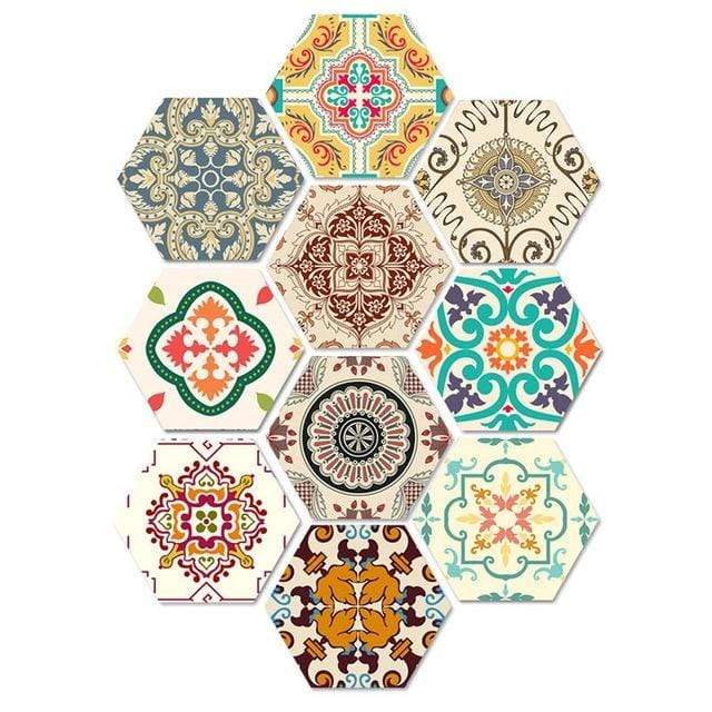 10Pcs Bathroom Mat Sticker Bedroom Door Irregular Geometric Sticker Stair Mats Living Room Printed Wall Stickers Home Decor