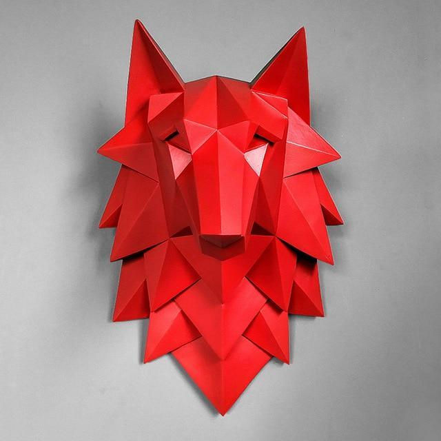 3D Abstract Wolf Head Statue - san-diego-art-house