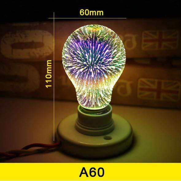3D Galaxy Light Bulb / LED Light / 3D Star Fireworks Effect Night light - san-diego-art-house