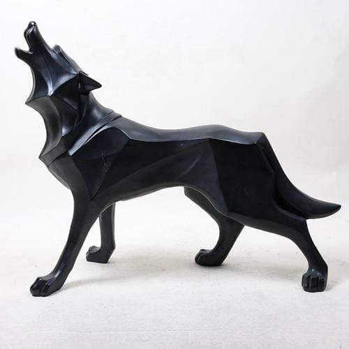 Abstract  Wolf Dog Statue Sculpture - san-diego-art-house