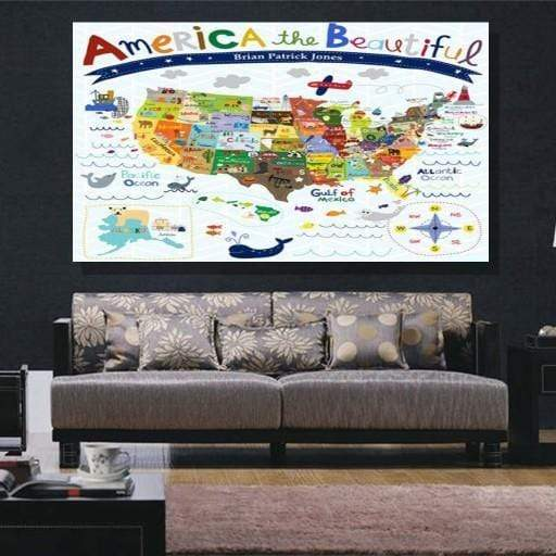 American Map Canvas Set - san-diego-art-house