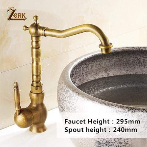 Antique Brass Kitchen Faucet 360 Swivel - san-diego-art-house
