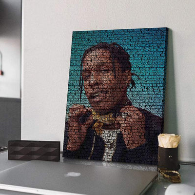 ASAP Rocky Lyrical Canvas | Song Lyrics Canvas Art | Custom Music Canvas Art | Hip Hop Art - San Diego Art House