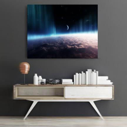 Aurora Borealis And Moon Canvas Set