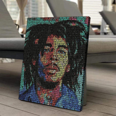Bob Marley Lyrical Canvas | Song Lyrics Canvas Art | Custom Music Canvas Art | Hip Hop Art - San Diego Art House