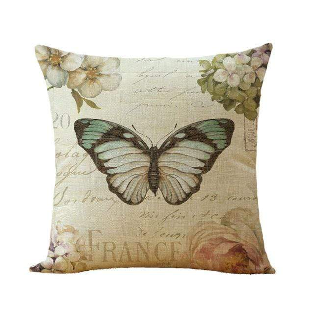 Flower Birds Cushion cover / Butterfly Pillowcase - San Diego Art House