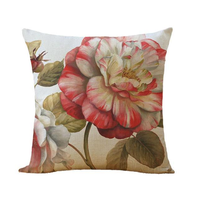 Flower pattern Cotton Linen Cushion Cover Vintage Style Flowers Pattern Pillowcase Waist Throw Pillows Cover Home decor