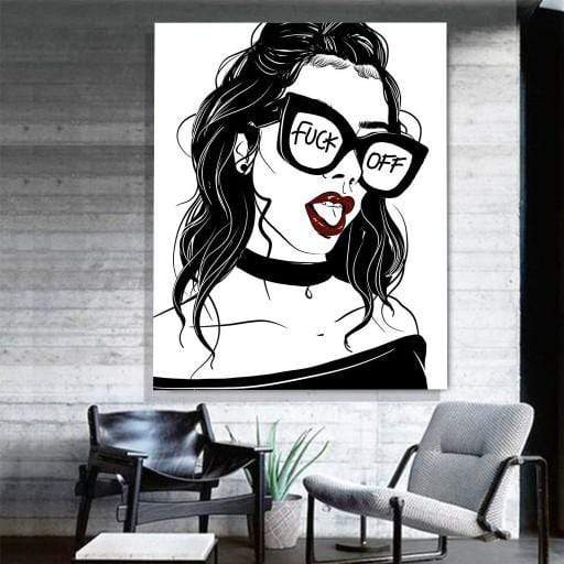 """Fuck Off"" Girl with Glasses Canvas Art - san-diego-art-house"