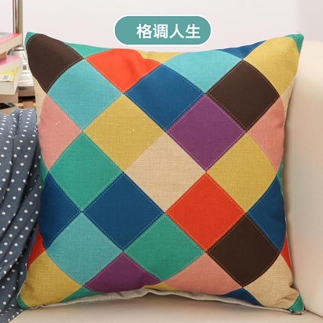 Geometric Pillow Case 45*45cm New Cushion Cover Home Seat Chair Car Cushion Cover Cotton Linen Printed Pillow Cover Pillowcase