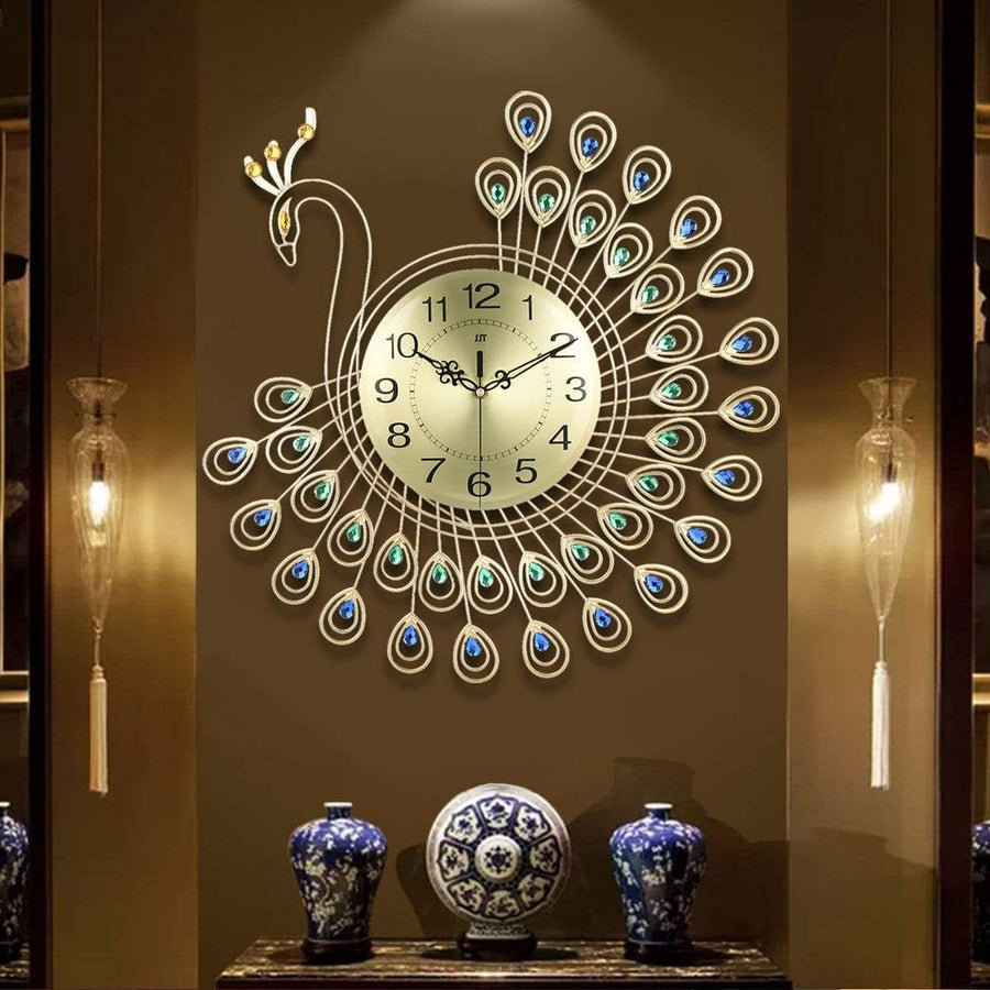 Large 3D Gold Diamond Peacock Wall Clock - san-diego-art-house