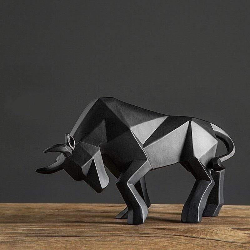 Resin Geometric Bison Ox Sculpture / Abstract Bull Statue - san-diego-art-house