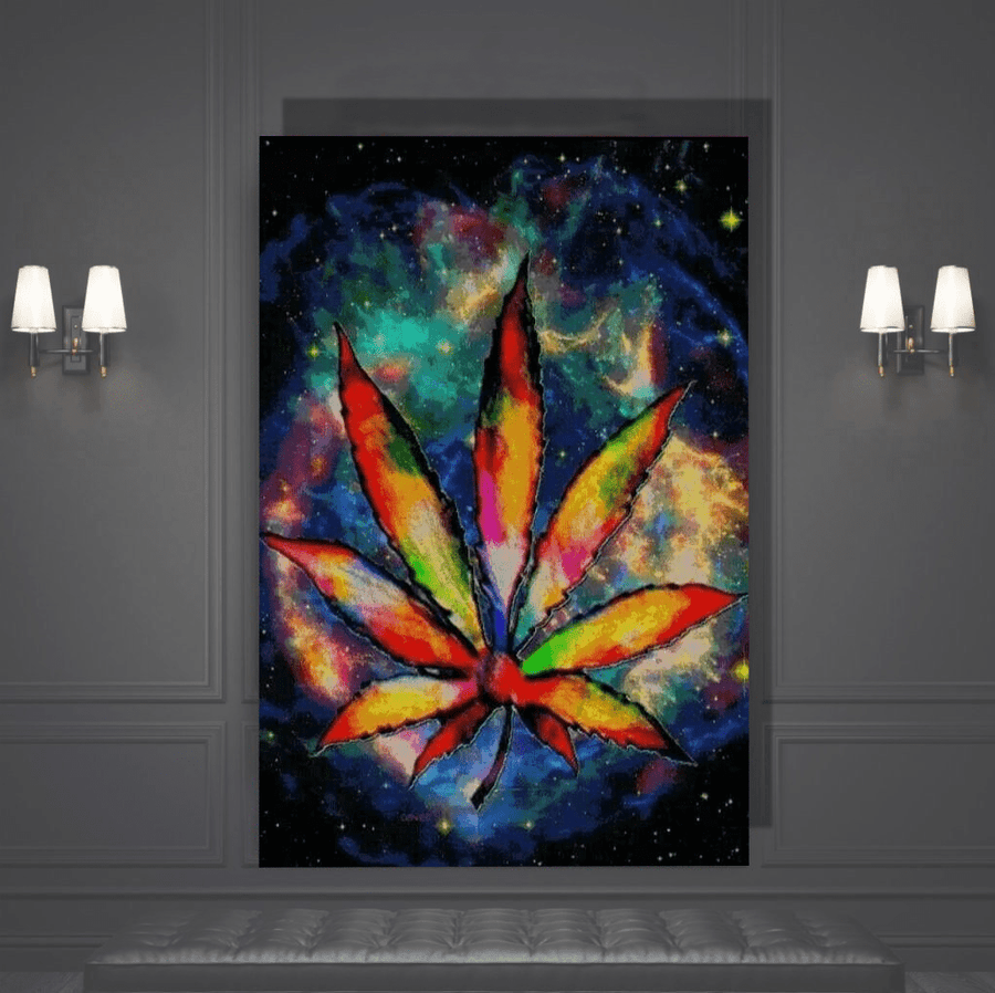 Trippy Marijuana Canvas Art