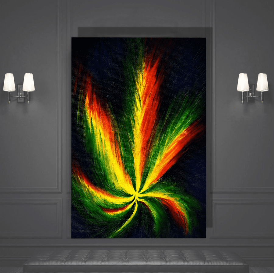Trippy Marijuana Leaf Canvas Art