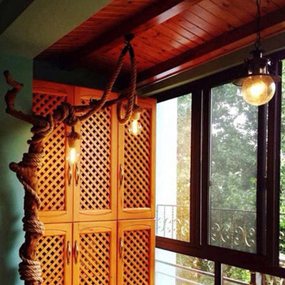 Vintage Rustic Hemp Rope Chandelier - san-diego-art-house