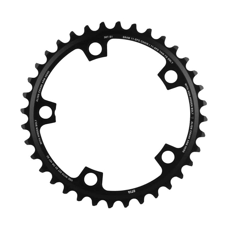 Sram 36T, 11Sp, Bcd: 110Mm, 5 Bolts, Red X-Glide, Inner Chainring, For 36/46 Or 36/52, Aluminum, Black, 11.6218.010.009