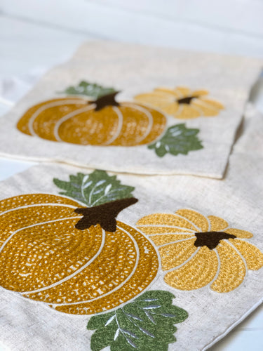 Linen Table Runner with Embroidered Pumpkins