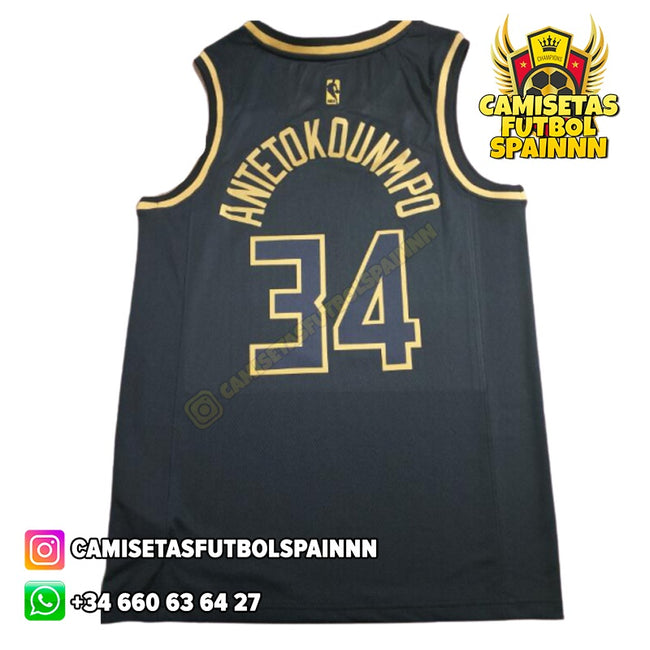 Camiseta Giannis Antetokounmpo 34 Milwaukee Bucks Gold Edition