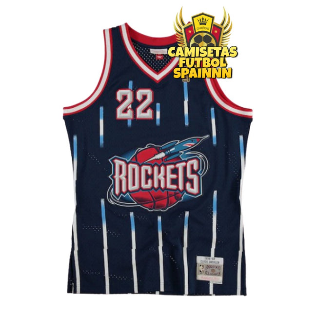 Camiseta Clyde Drexler 22 Houston Rockets Hardwood Retro