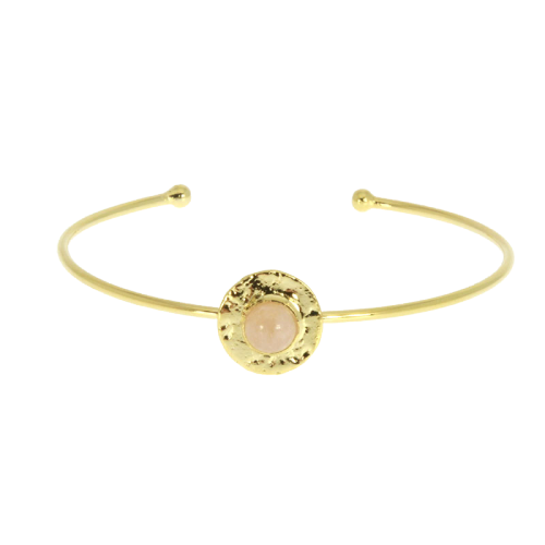 Bangle medalla textura piedra rosa quartz