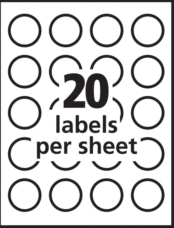 Circular Label Ink Jet & Laser Labels, 1  1/2 , white, 20 up (1 pack of 100 sheets)
