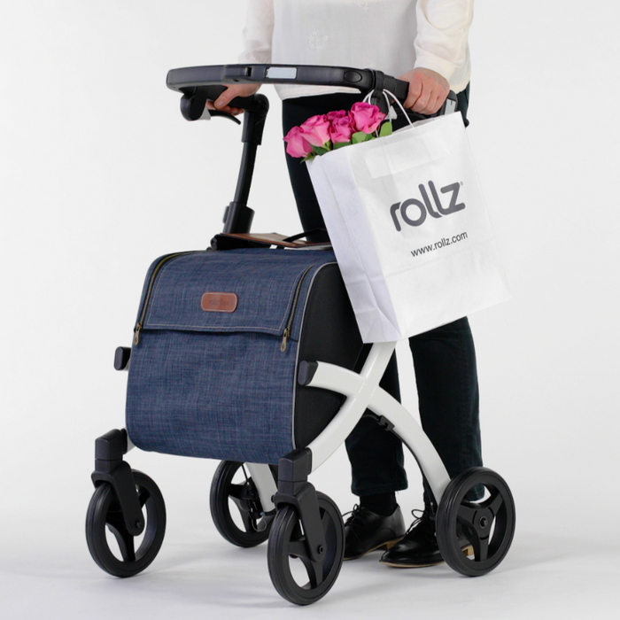 Rollz Flex white with denim bag out shopping made easy with hooks