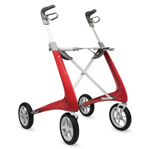 byAcre Carbon Ultralight rollator in strawberry red  lightest rollator