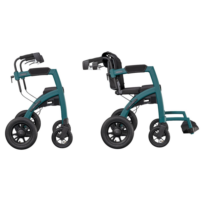 Rollz Performance combined rollator and wheelchair side by side