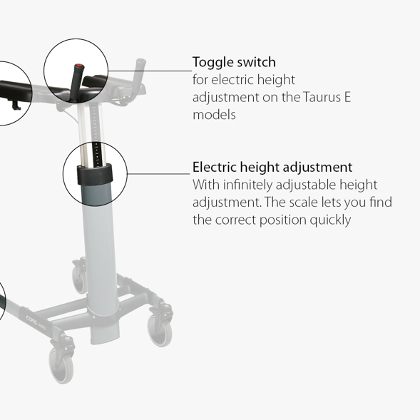 TOPRO_Taurus_E_Basic_Walker_Important_Features toggle switch and electric height adjustment