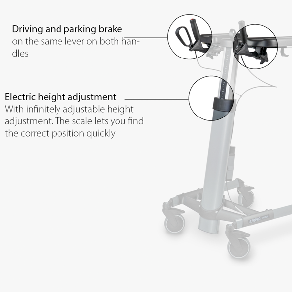 TOPRO_Taurus_E_Premium_Walker Important features brake and electric height adjustment