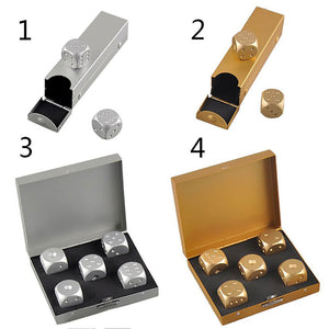 2019 Silver Gold Color Solid Aluminium Alloy Dominoes Metal Drinking Dice Game Portable Dice Poker Party - Party-Trends der Shop mit den coolsten Produkten für deine Party