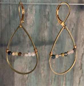mixed stone drop earrings