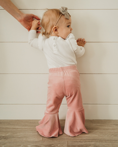 Lina Pleated Velour Bell Bottoms - Lollipop Pink