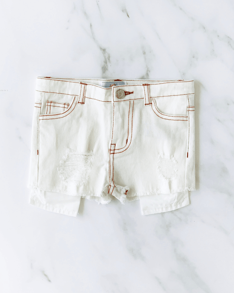 Skylar Shorty Shorts - White Denim