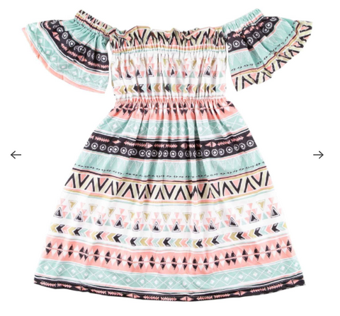Aztec Off-The-Shoulder Dress