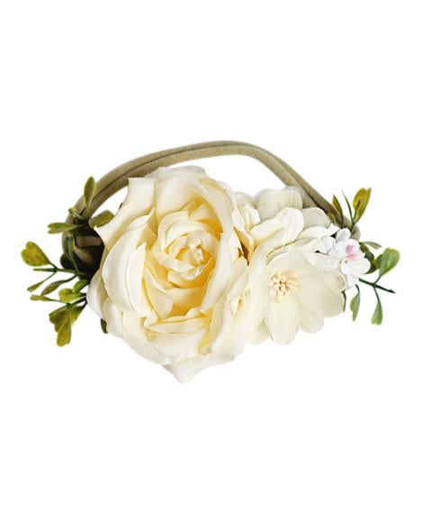 Floral Stretch Headband - Ivory