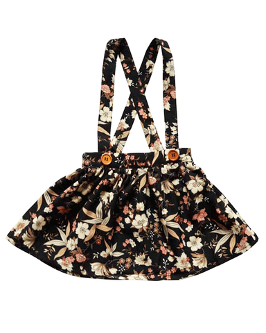 Daphne Pleated Suspender Skirt-Black Floral