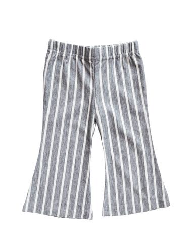 Boho Bell Bottoms - Gray & White Stripe