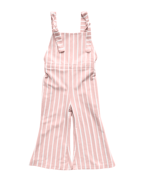 Suspender Bell Bottom Jumpsuit-Mauve & White Stripe