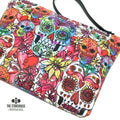 Watercolor Sugar Skulls Wristlet