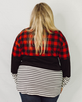 Black, White and Plaid Color Block Top