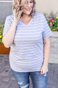 Classic V-Neck Tee - Heather Grey with White Stripe