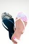Bamboo Cancun Sandal in Black Snake and Blush Leopard on White Background