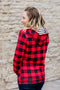 Buffalo Plaid and Stripes Half Zip Hoodie