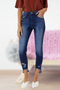 High Rise Hem Detail Ankle Skinny Jean