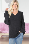 Popcorn V-Neck Balloon Sleeve Sweater