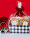 Gourmet Popcorn in a White and Black Plaid Gift Basket