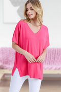The Casual Classy V-Neck Top in Hot Pink